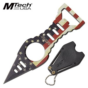 Mtech USA Flag Boot Knife Neck Knife with Bottle Opener