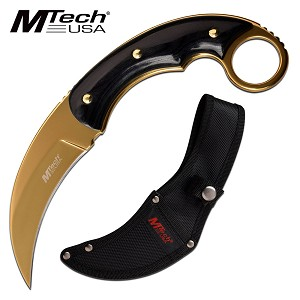 Mtech Fixed Blade Knife Karambit Knife with Thumb Ring Gold Blade