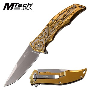 Mtech Knife Mechanical Gears Design Spring Assisted Knife Bronze