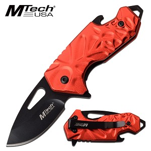 Mtech Bottle Opener Handle Spring Assisted Pocket Knife Red