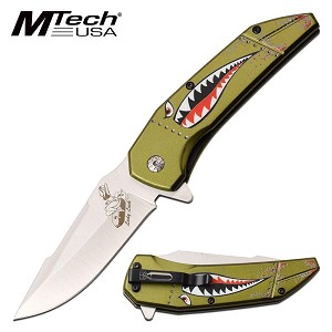 Mtech Spring Assisted Knife Green Shark Handle Bomber Lady Luck Blade