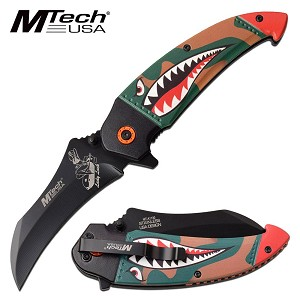 Mtech Spring Assisted Knife Green Camo Shark Handle Bomber Lady Luck Blade