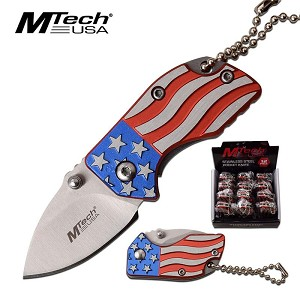 USA Flag Mtech Folding Pocket Knife Display Pop Box 12 Pieces
