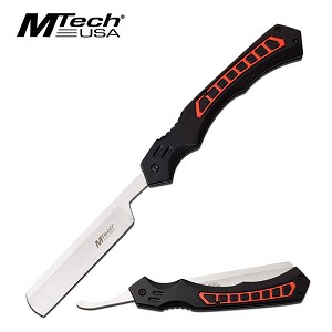 MTech USA Straight Razor Frictions Folding Blade Red