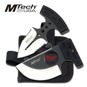 Mtech Push Knife Combo 2 Piece Set - Black G10 Handle