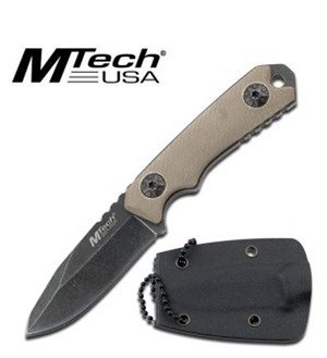 Mtech Fixed Blade Neck Knife with Stone Wash Blade & Tan G10 Handle