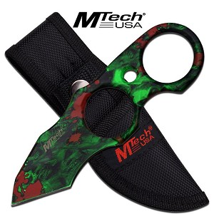 Mtech USA Fixed Blade Tanto Knife - Green Skull Camo Ring Handle