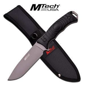 Mtech USA Fixed Blade Full Tang Drop Point Blade Knife - Grey Titanium