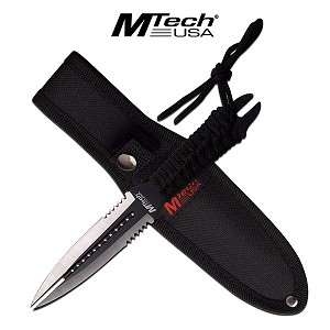 MTech USA 8.5 Inch Fixed Dual Double Edge Blade Knife Black