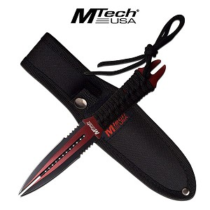 MTech USA 8.5 Inch Fixed Dual Double Edge Blade Knife Red