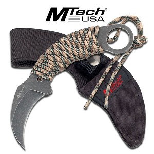Mtech Hawk Black Fixed Blade Karambit Knife with Green Camo Cord Wrapped Handle