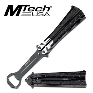 Punisher Balisong Butterfly Bottle Opener - Silver