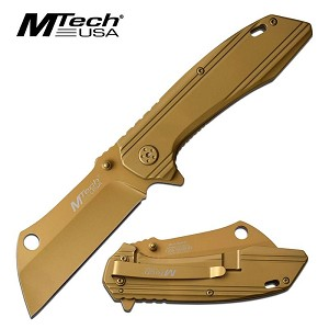 Mtech  USA Spring Assisted Clever Blade Folding Pocket Knife Gold