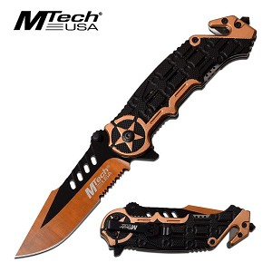 Mtech USA Spring Assisted Folding Pocket Knife Tactical Brown Star