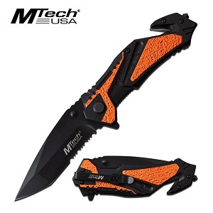 Mtech 8.25 Inch Overall Tactical Spring Assisted Folding Knife Orange Black