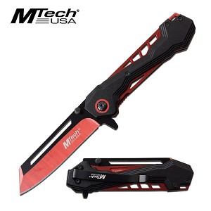 Cool Cleaver Blade Spring Assisted Opening Folding Pocket Knife Red