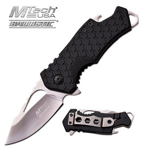 Mtech USA Ballistic 3 Inch Spring Assisted Folder Knife with Bottle Opener - Mirror