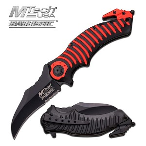 Mtech USA Ballistic Assisted Opening Spring Knife Red Black Handle