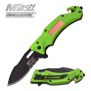 MTech USA Ballistic Tactical Spring Assisted Knife Green Handle with Solar LED Light