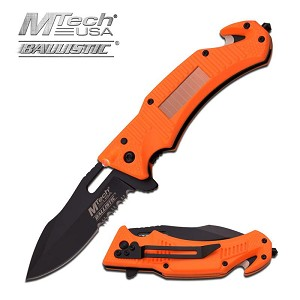 MTech USA Ballistic Tactical Spring Assisted Knife Orange Handle with Solar LED Light