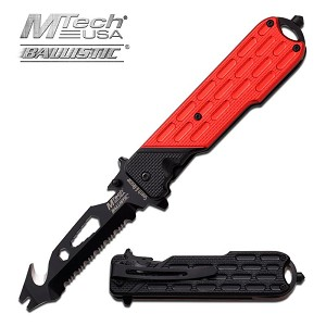 Mtech USA Ballistic Spring Assisted Opening Tactical Hand Tool - Red