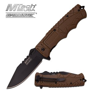 Mtech USA Ballistic Action Spring Assisted Folding Knife Brown Handle