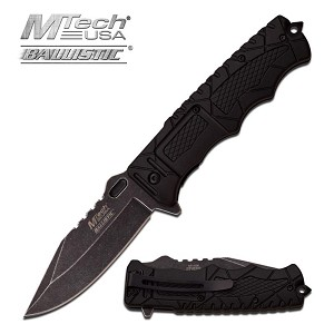 Mtech USA Ballistic Action Spring Assisted Folding Knife Stone Wash Blade