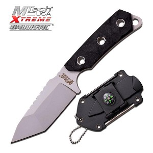Mtech Xtreme Ballistic Black Fixed Black Camping Neck Knife - Compass Mirror Sheath