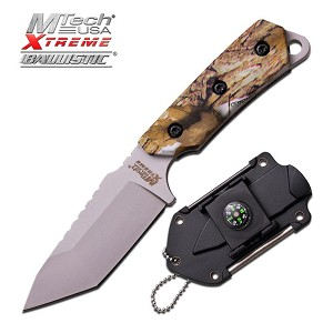 Mtech Xtreme Ballistic Black Fixed Camo Camping Neck Knife - Compass Mirror Sheath