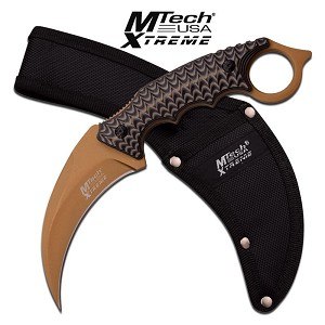 Mtech USa Xtreme Fixed Blade Karambit Knife Green Titanium