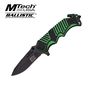 Mtech Xtreme Ballistic Tactical Spring Assisted Folding Knife - G10 Black Green