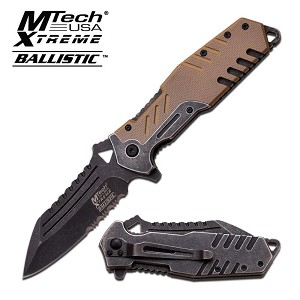 Mtech USA Xtreme Ballistic Spring Assisted Knife - Tan G10 Handle