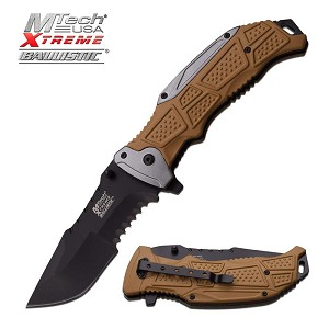 MTech USA Xtreme Ballistic Spring Assisted Opening Knife Tan Handle