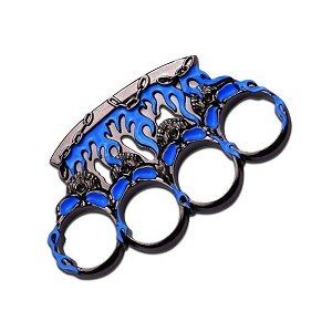 Self Defense Zinc Aluminum Hand Knuckles - Blue