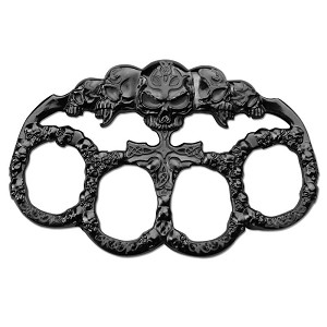 Five Skull Zinc Aluminum Hand Knuckle - Black
