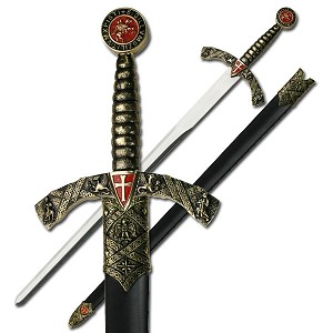 Knight's Templar Shield Sword with Scabbard