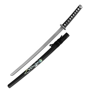 37 Inch Samurai Katana Sword with Flower Painted Black Scabbard