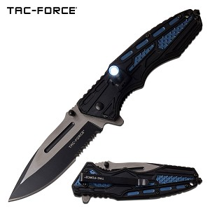 Tactical Knife Spring Assisted Knife LED Light Black Blue Handle