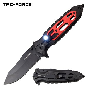 Tac Force Tactical Pocket Knife Spring Assisted Knife Red LED Handle
