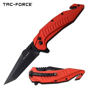 Tac Force Tactical Knife Tanto Blade Spring Assisted Knife Red