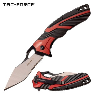 Tac Force Pocket Knife 8.5 Inch Spring Assisted Knife Red Black Handle