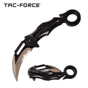 Ring Handle Karambit Style Spring Assisted Folding Pocket Knife Black Grey
