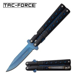 Blue Butterfly Stiletto Style Spring Assisted Folding Pocket Knife