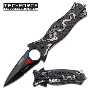 4.5 Inch Grey Dragon Spear and Spike Tactical Spring Assisted Folder Knife
