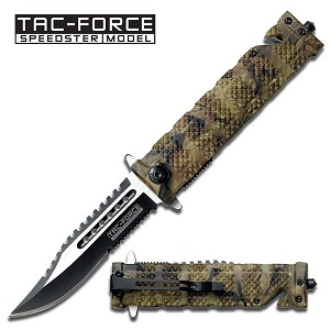 Jungle Camo Tactical Fighter Assisted Opening Folder Knife