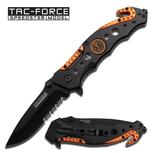EMT EMS Rescue Style Spring Assist Folder Knife Orange Black Handle