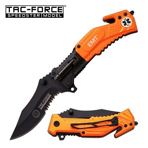Tac Force Tactical LED Light Assisted Opening Spring Folding Knife - Emt Orange