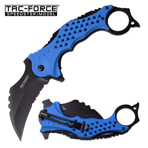 Tac Force Karambit Blade Spring Assisted Knife Blue Handle