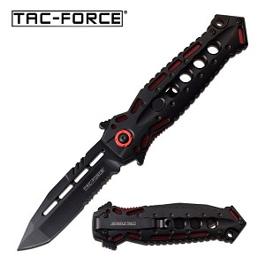Spring Assisted Speed Opening Pocket Knife Black Red Aluminum Handle