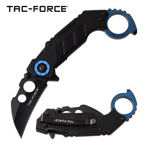 Karambit Spring Assisted Folding Pocket Knife Thumb Ring Blue